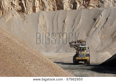 Heaps of stone aggregate for road construction