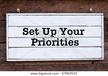 Inspirational Message - Set Up Your Priorities