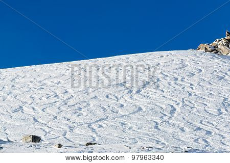Off Piste Ski Tracks On Powder Snow