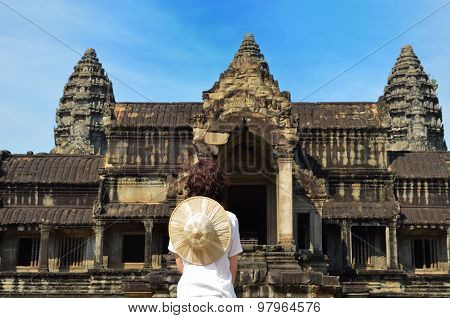 Woman At Angkor Wat Temple Complex, Siem Reap, Cambodia