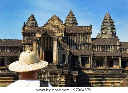 Man At Angkor Wat Temple Complex, Siem Reap, Cambodia