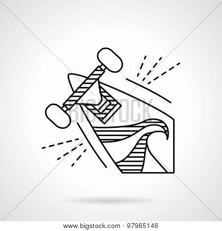 Longboard line vector icon