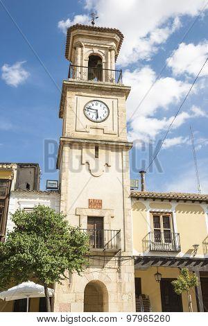 bell tower with a clock in La Mancha square - Chinchilla de Monte Aragon - Albacete - Spain