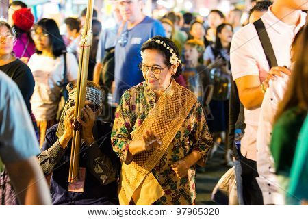 Chiang Mai, Thailand - November 15, 2014: Unidentified Tourists Enjoy Shopping At Chiang Mai Night B