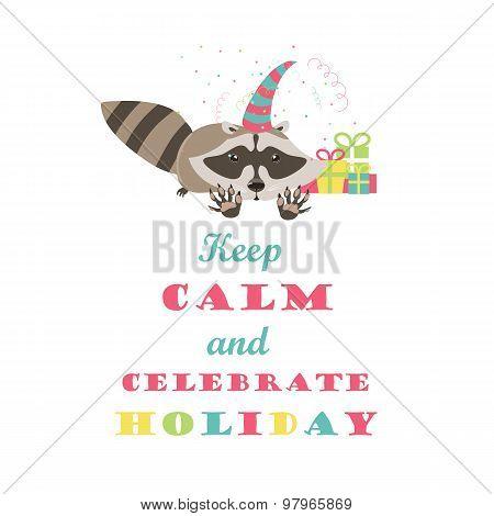 Funny raccoon celebrating holiday