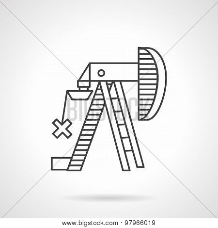 Oil pump jack outline vector icon
