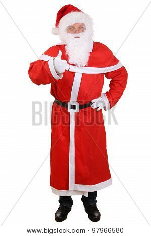 Santa Claus Isolated Full Length Portrait Showing Thumbs Up On Christmas