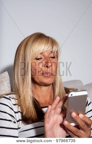 Woman Deciding What To Reply