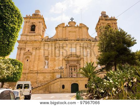 Valletta, Malta - 25 May 2015: church of St. Lawrence in Valletta`s Birgu in Malta