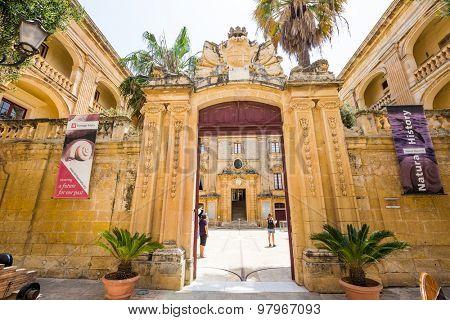 Mdina, Malta - 26 May, 2015: gates to the city of Mdina in Malta