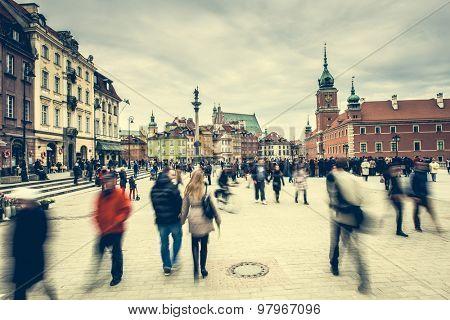 Warsaw, Poland - March 08, 2015: Castle Square in Warsaw, Poland