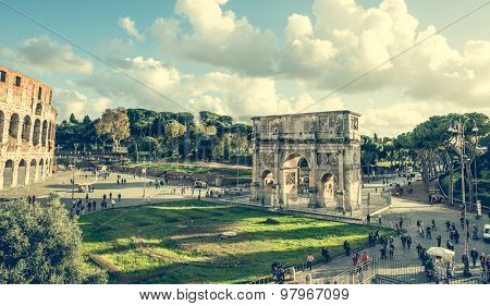 Rome, Italy - 18 November 2014: The Arch of Constantine is a triumphal arch in Rome near Coliseum