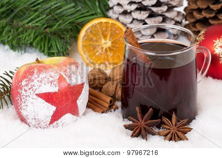 Winter Apple Fruit And Mulled Wine Alcohol Drink On Christmas