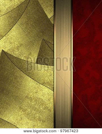 Abstract Gold Background With Red Edge. Element For Design. Template For Design. Copy Space For Ad B