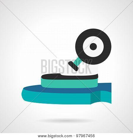 Longboard wheel flat vector icon