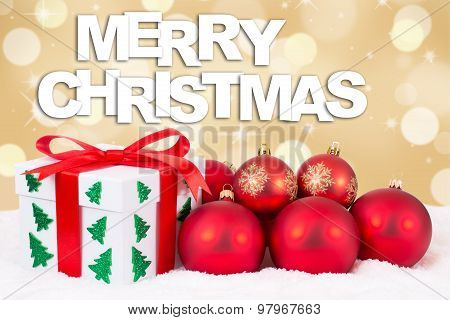 Merry Christmas Gift Card Decoration With Gifts And Golden Background