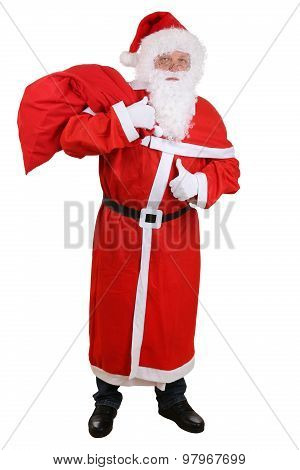 Santa Claus With Bag For Christmas Gifts Showing Thumbs Up