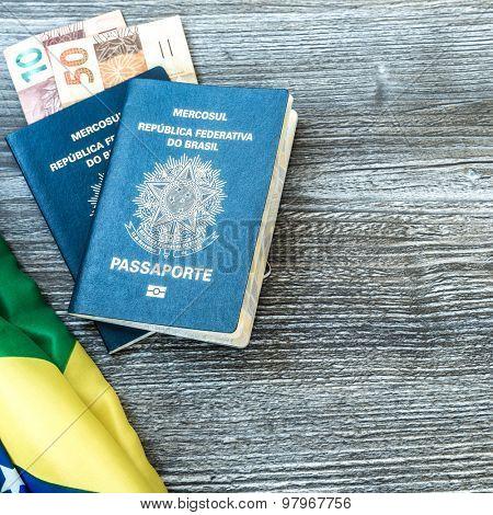 Brazilian passaport, flag and money