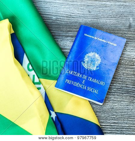 Brazilian work document and social security document on the table