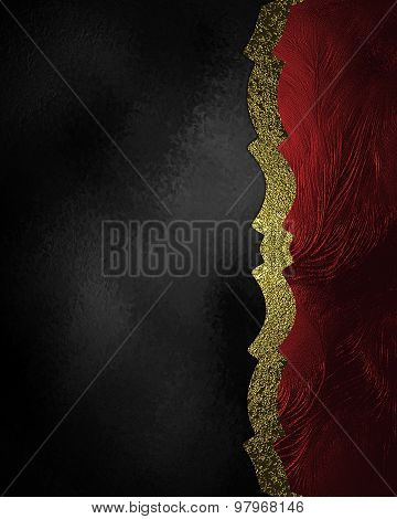 Abstract Black Background With Red Edge And Gold Ribbon. Element For Design. Template For Design. Co