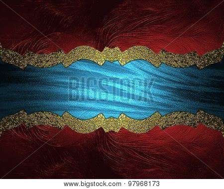 Abstract Blue Background With Red Frame And Gold Ribbon. Element For Design. Template For Design. Co