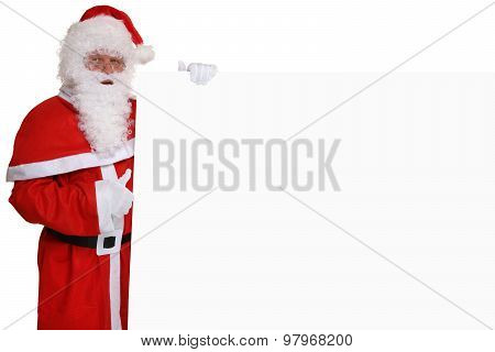 Santa Claus Thumbs Up On Christmas Holding Empty Banner