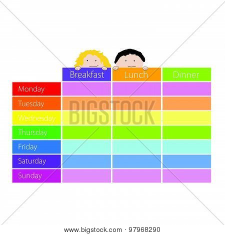 Timetable With Kids Color Vector