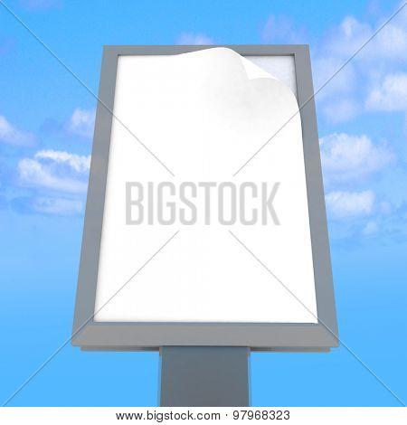 Empty advertising billboard at sky background. 3D render illustration