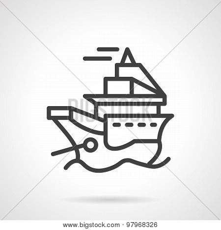 Simple line vector icon for ship