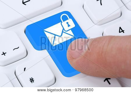 Sending Encrypted E-mail Email Mail Message On Computer