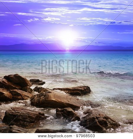 beautiful sunset with rocks, island of Thailand
