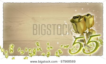 birthday concept with golden roses and star particles - 55th