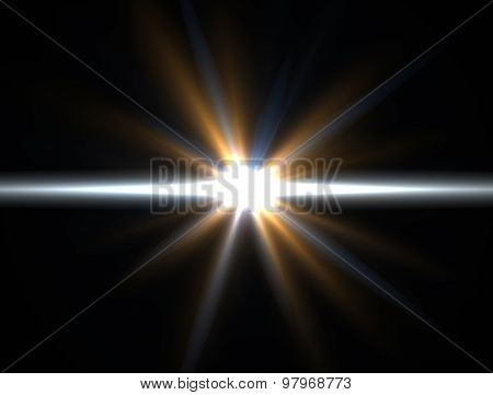 Design Template - Yellow Star, Sun With Lens Flare. Rays Background.