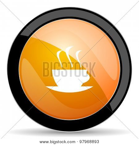 espresso orange icon hot cup of caffee sign