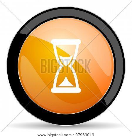 time orange icon hourglass sign
