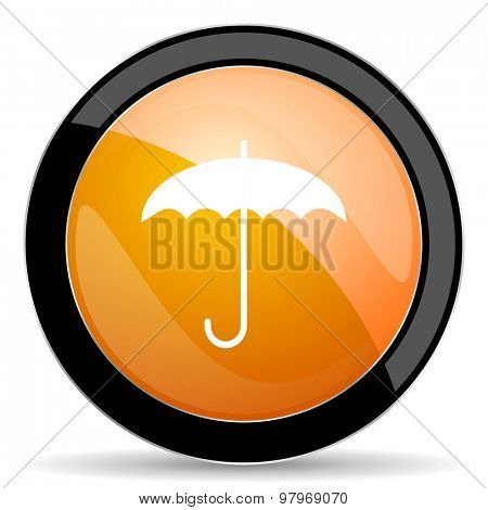 umbrella orange icon protection sign