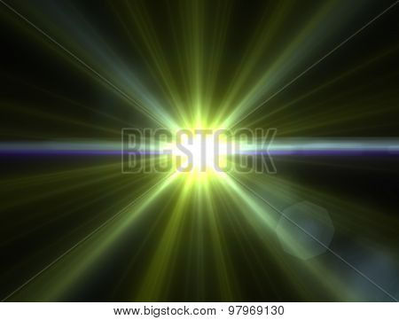 Design Template - Star, Sun With Lens Flare. Rays Background. Green Star. Colorful