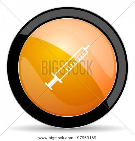 medicine orange icon syringe sign