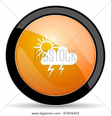 storm orange icon waether forecast sign