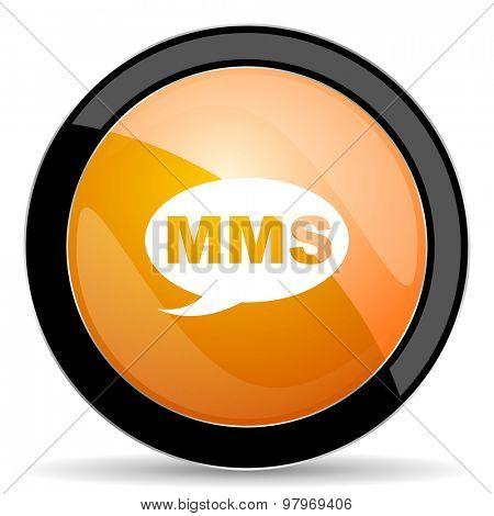 mms orange icon message sign