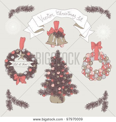 Vector hand drawn christmas set.