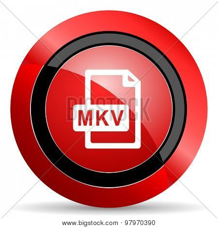 mkv file red glossy web icon