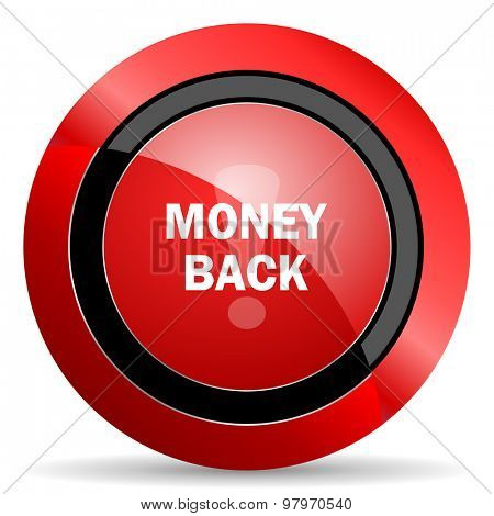 money back red glossy web icon