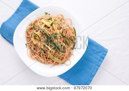 Zucchini Pasta And Whole Wheat Noodles