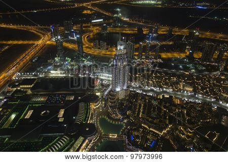 Dubai at night, almost straight down from the tallest building in the world