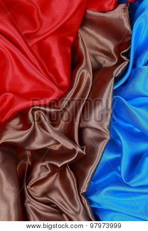 Brown And Red And Blue Silk Cloth Of Wavy Abstract Backgrounds