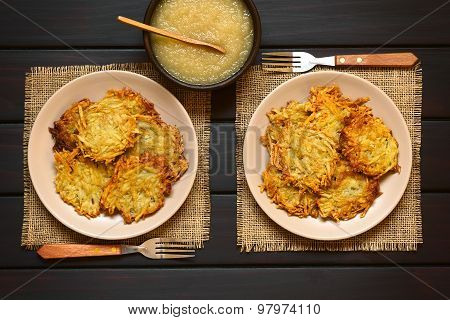 Potato Pancakes or Fritters with Apple Sauce