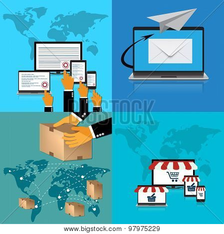 pay per click; delivery, online shopping; mail delivery; illustrations in flat design for web sites,