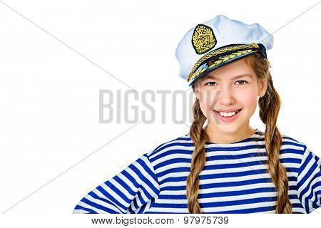 Joyful teen girl wearing sailor's striped vest and marine cap. Studio shot. Isolated over white.