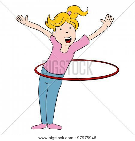 An image of a cartoon girl playing with a hula hoop.